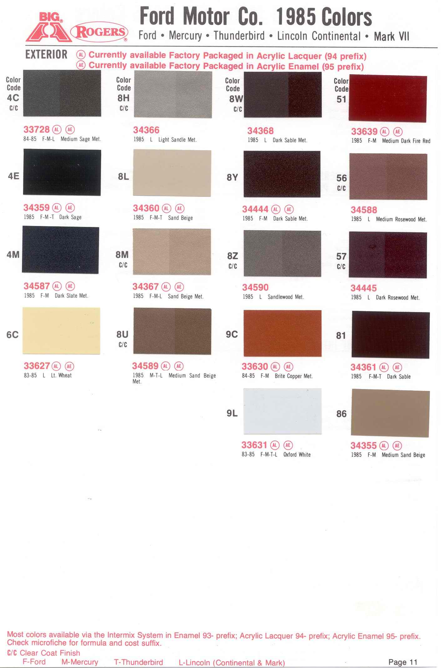 ford interior trim color codes
